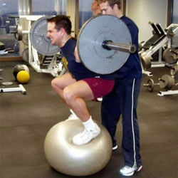 stability-ball-barbell-squat