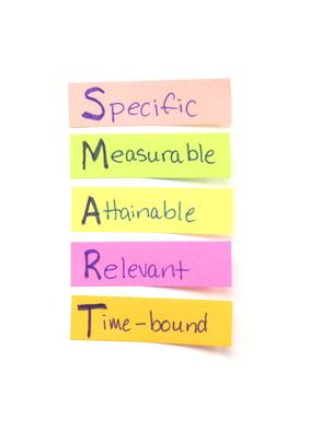 Smart goals on stick-it notes